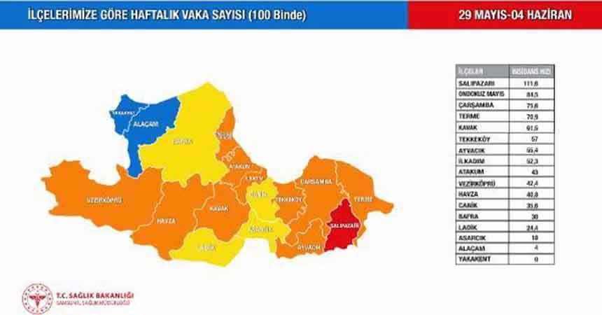 Samsun'da mavi ilçe sayısı 2 oldu