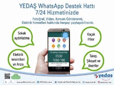 YEDAS Whatsapp destek hattı hizmette