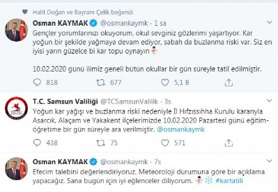 Samsun'da okullar tatil